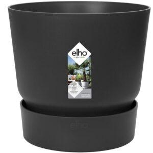 Elho Greenville Round Blumentopf, Living Schwarz, 30 CM