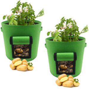 FIXKIT Pflanzen Tasche,Kartoffel Pflanzsack,Dauerhaft Atmungsaktiv Beutel