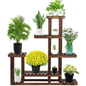 Yaheetech Blumenleiter Pflanzentreppe Blumenregal Holz Regal Blumentreppe Gartenregal Leiterregal Pflanzenregal
