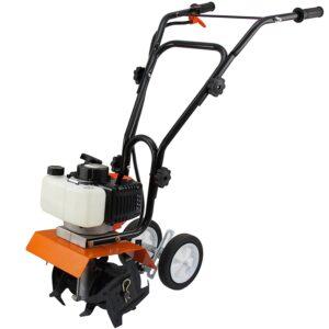 T-Mech Benzin Gartenhacke Motorhacke Bodenfräse Kultivator Fräse Hacke 2-Takt + Gratis Werkzeugset und Sicherheitsausrüstung