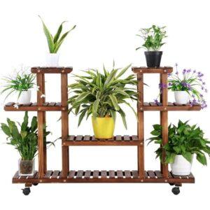 Yaheetech Pflanzentreppe Pflanzenregal Holz mehrstöckig Blumenregal