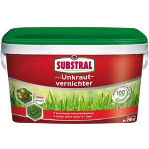 Substral Rasendünger mit Unkrautvernichter - Profiqualität mit 100 Tage Langzeitwirkung und Unkrautvernichtung in einem Arbeitsgang - 5 kg für 250 m²